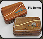Fly fishing lure boxes by Jim Cutting.