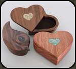 Heart and Leaf boxes by Jim Cutting