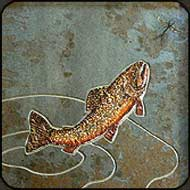 Stone mosaic with painted stone fish and fly by Jim and Holly Cutting