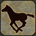 Stone mosaic silhouette single colt running.