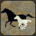 Stone mosaic silhouette horse and colt running.